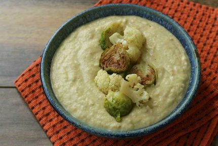 Creamy Cauliflower Soup with Brussels Sprouts