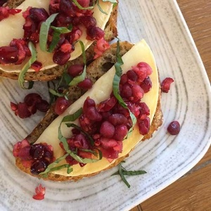 Pomegranate Cranberry Brie Bruschetta