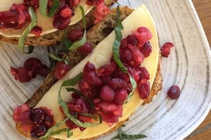 Pomegranate Cranberry Brie Bruschetta