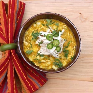 Chicken Chili Verde with Hominy and Pumpkin