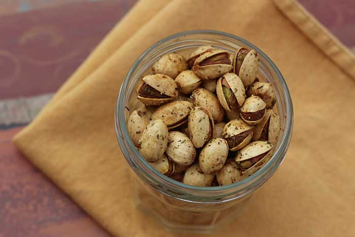 Spiced Pistachios with Thyme, Sesame, and Lemon