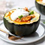Chicken Enchilada-Stuffed Acorn Squash