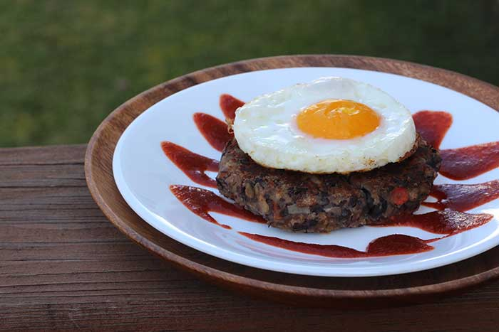 Black Bean Burger with Sriracha and Egg