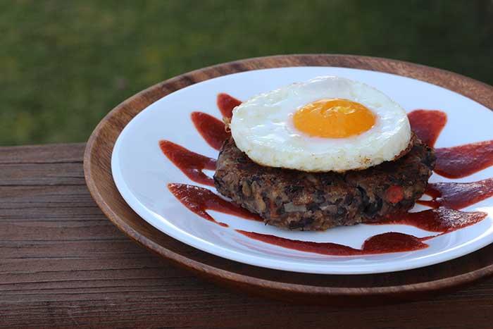 Black Bean Burger with Sriracha and Egg
