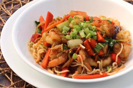 Shirataki Noodles with Shrimp Stir-Fry in a white bowl