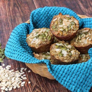 Oatmeal Muffins with Pumpkin Seeds and Nuts