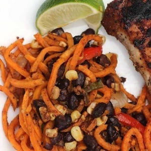 Sweet Potato Noodles with Black Beans and Peppers