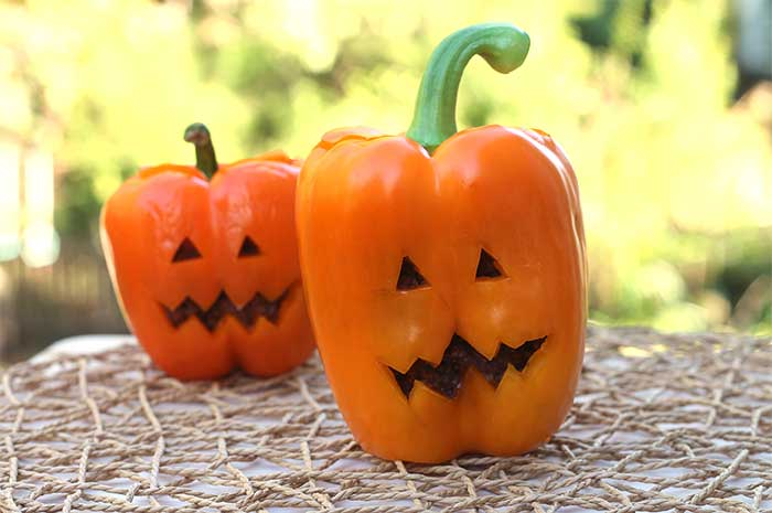 Halloween Bell Peppers with Black Bean Dip
