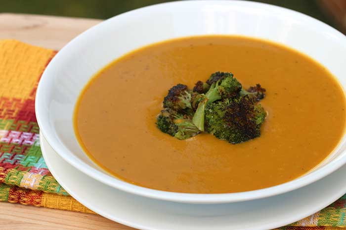 Orange Bell Pepper Soup with Roasted Broccoli