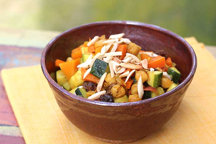 Moroccan Chickpeas with Squash and Carrots