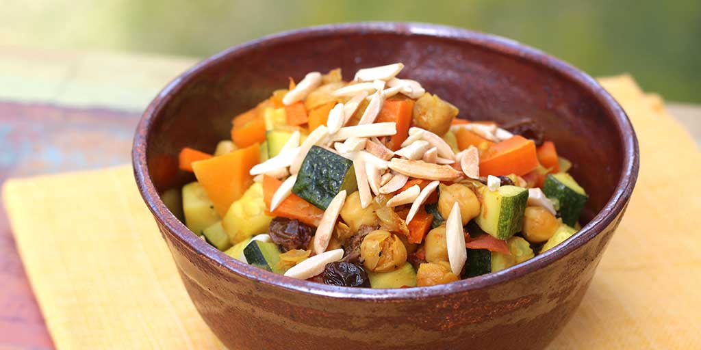 Moroccan Chickpeas with Squash and Carrots - Diabetic Foodie