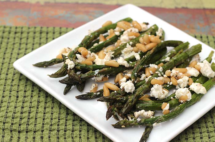 Roasted Asparagus with Goat Cheese and Pine Nuts
