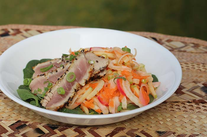 Sesame Seared Tuna with Fennel Apple Slaw