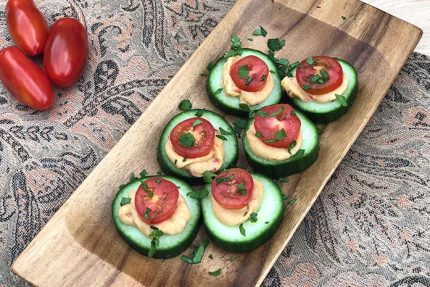 Cucumber Bites with Hummus and Tomatoes