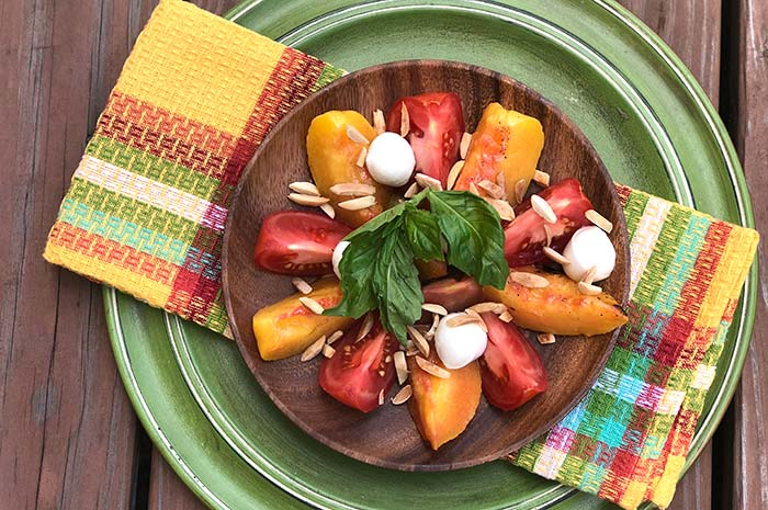 Tomato Peach Salad with Fresh Mozzarella