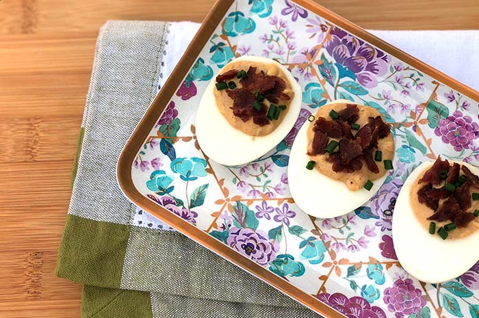 BBQ Deviled Eggs with Turkey Bacon