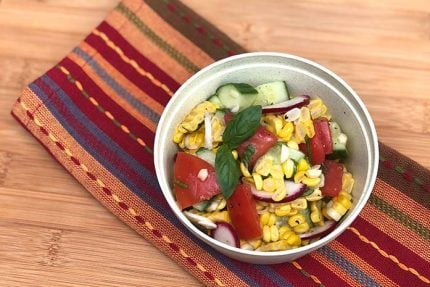 Summer Corn Salad with Basil Vinaigrette