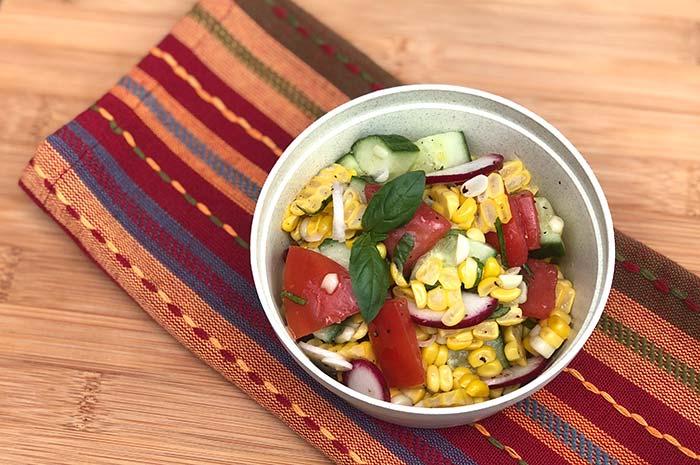 Summer Corn Salad with Basil Vinaigrette