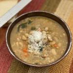 Bowl of instant pot lentil soup on table