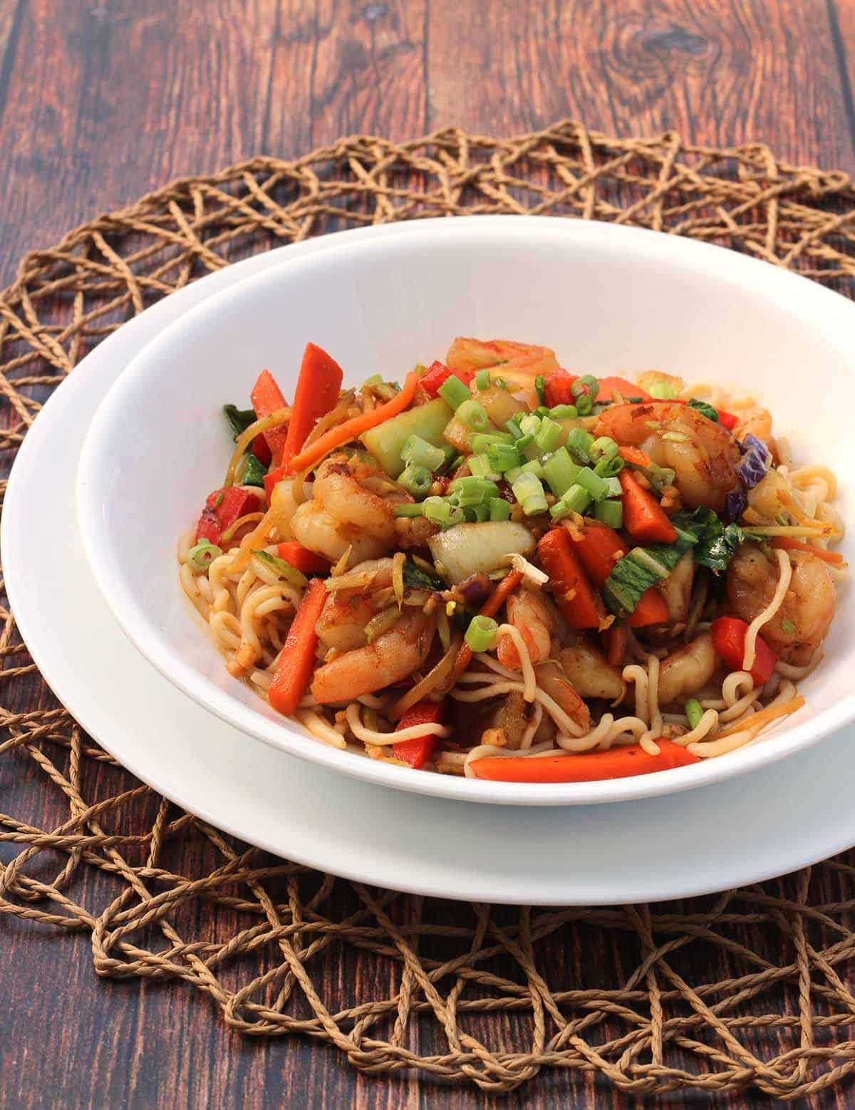 Shirataki Noodles with Shrimp Stir-Fry in a white bowl