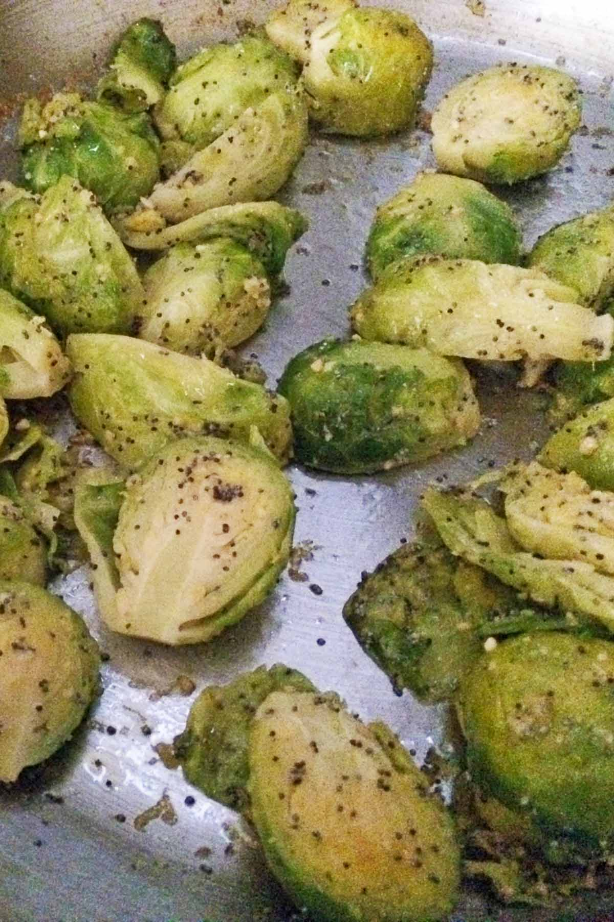 Brussels Sprouts with Poppy Seeds and Lemon in a pan
