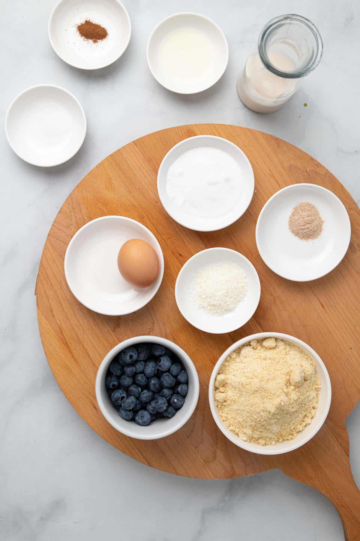 Ingredients separated into ramekins and dishes, as seen from above