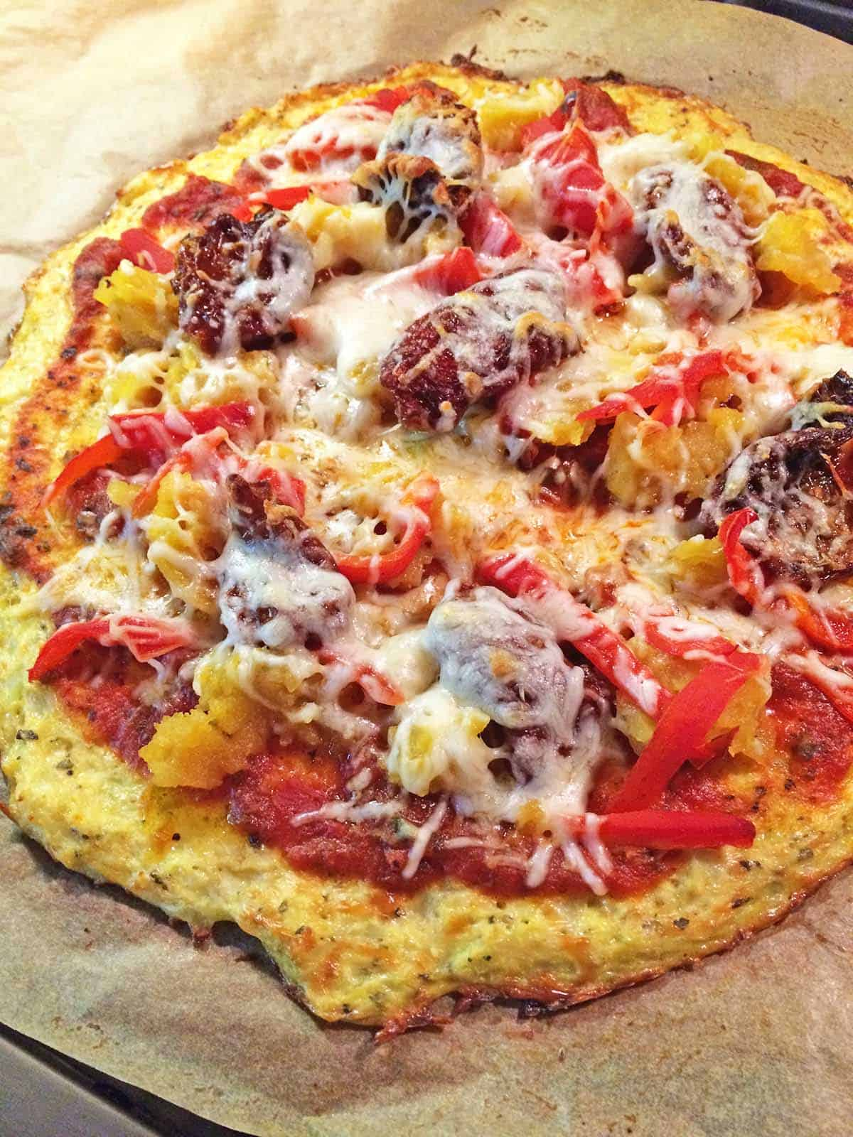 Cauliflower pizza crust with toppings