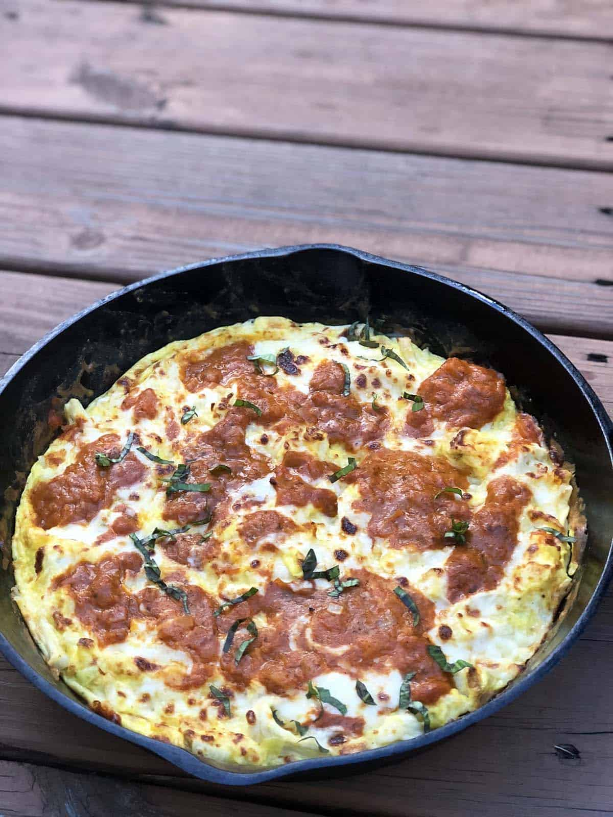 Pizza frittata in cast iron skillet