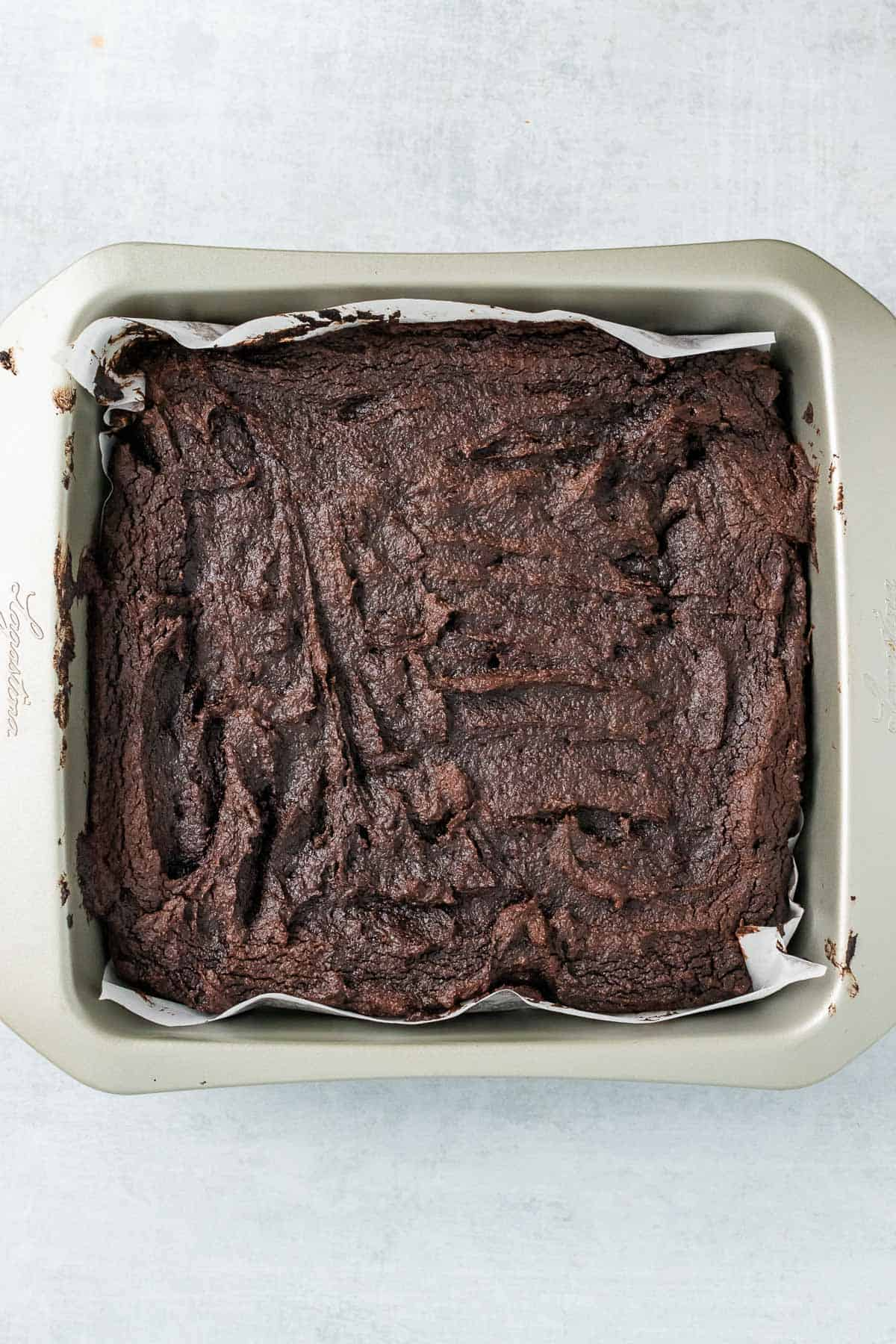 Finished brownies in the baking tin as they cool