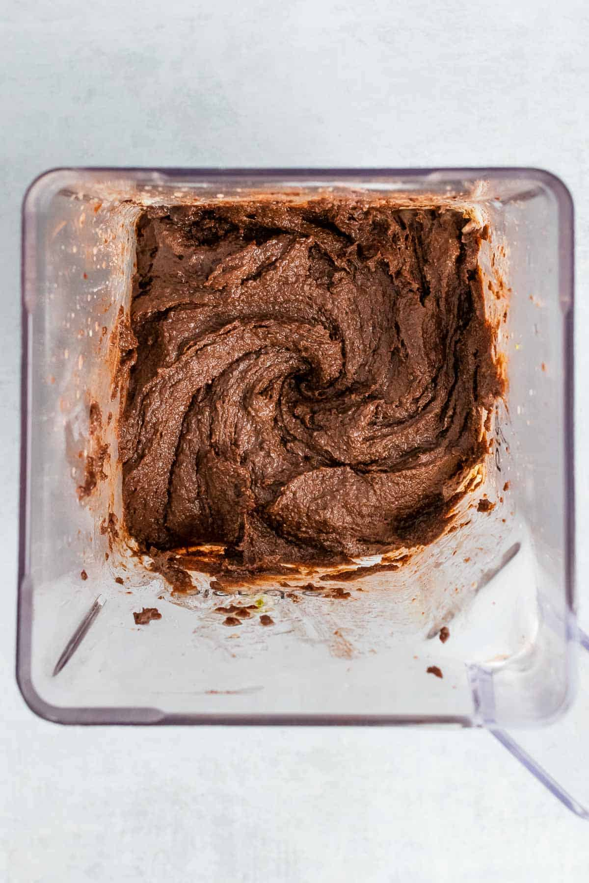 Brownie batter mixed together in the blender, as seen from above