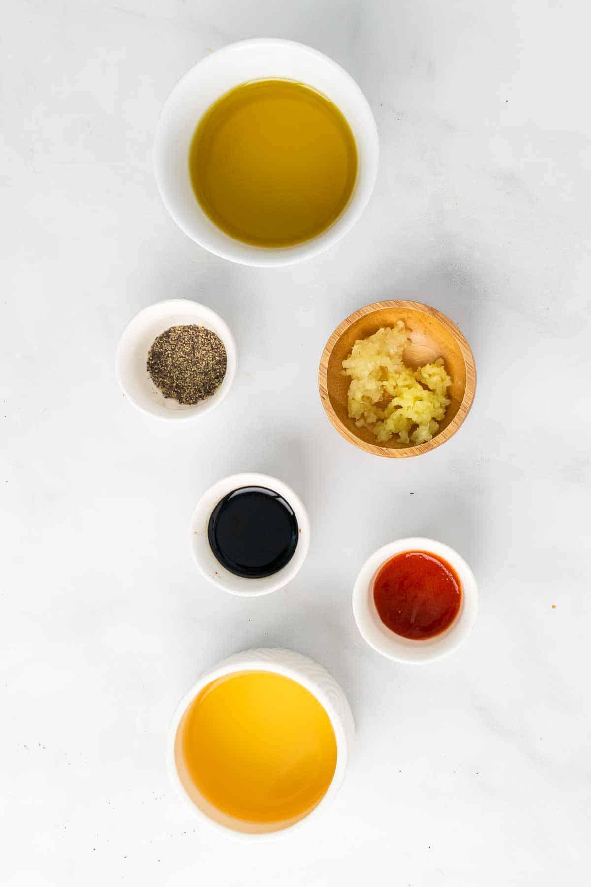 Ingredients in individual white ramekins