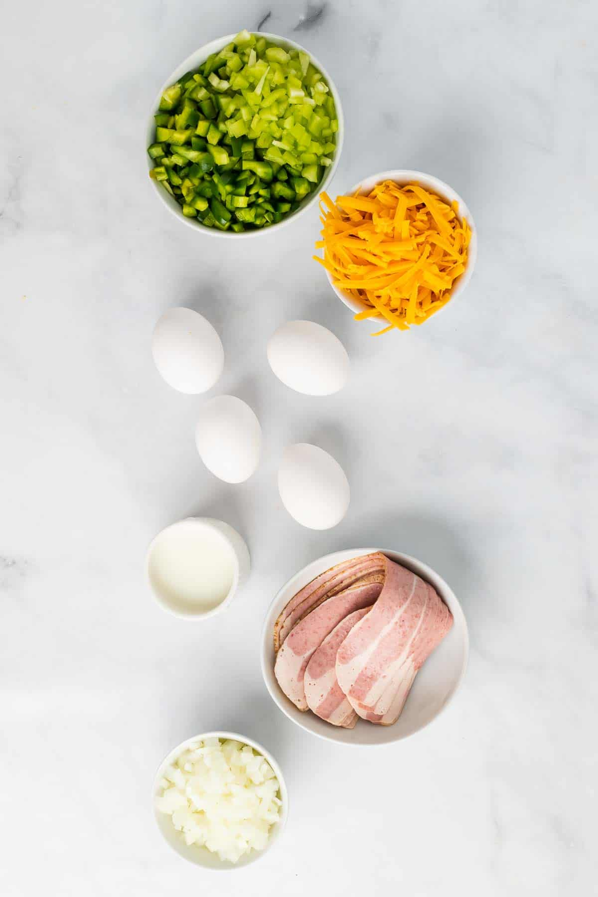 Ingredients laid out on a marble surface