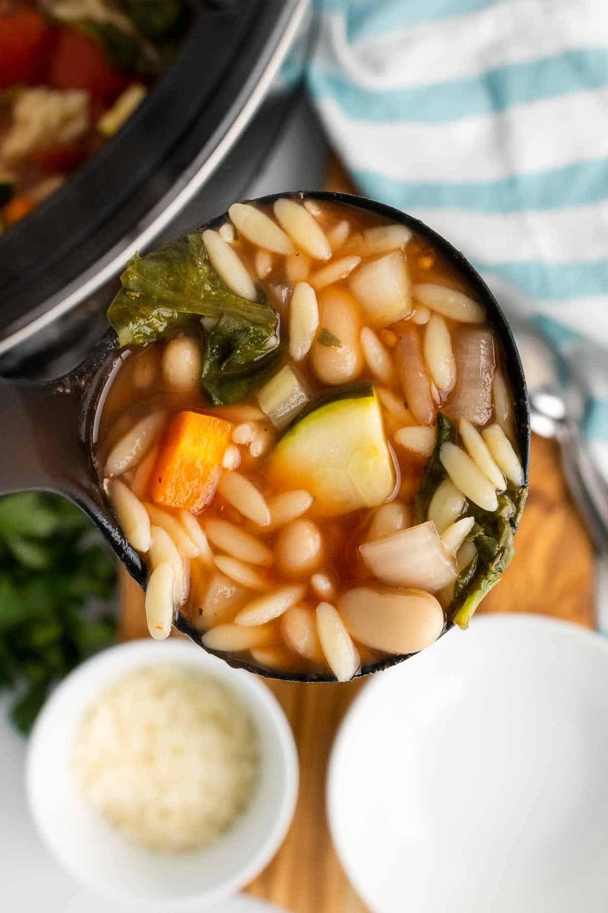 Close-up of a spoonful of minestrone