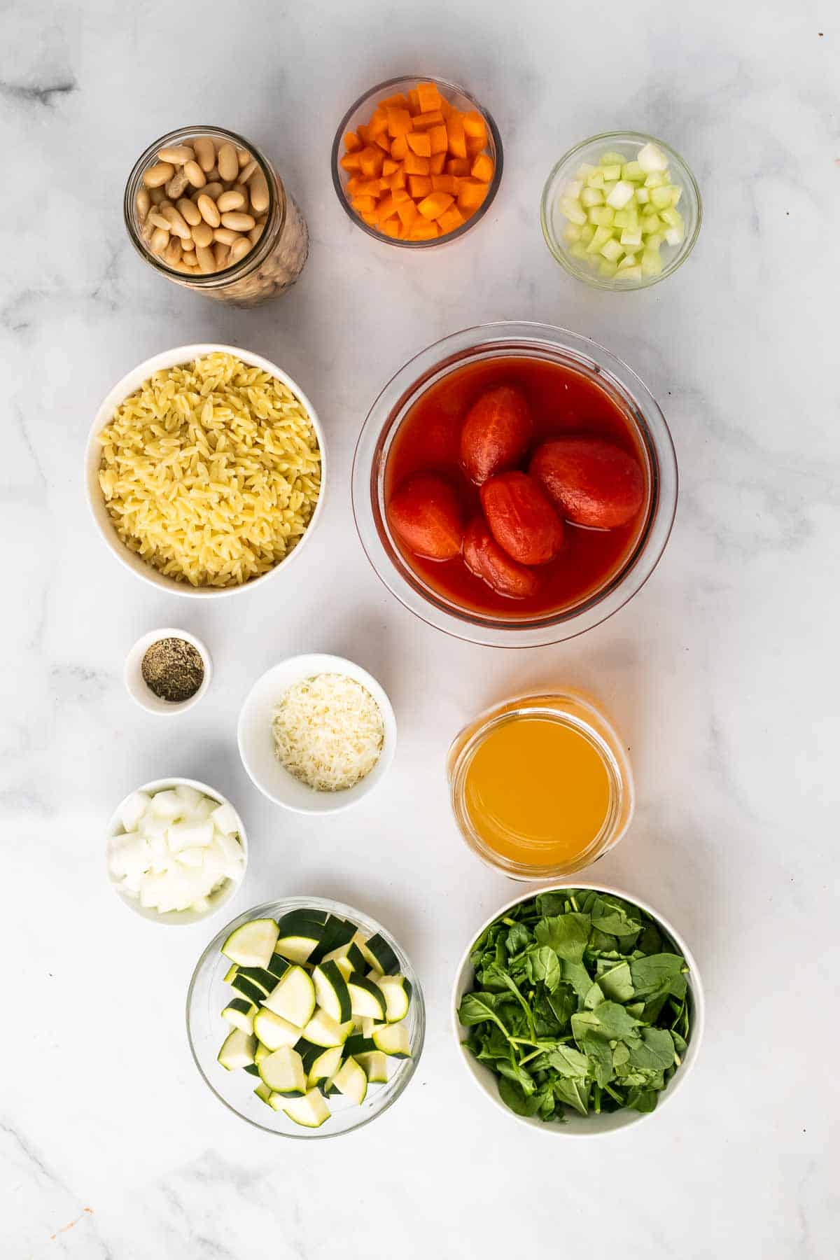 Ingredients for the recipe laid out on a marble surface