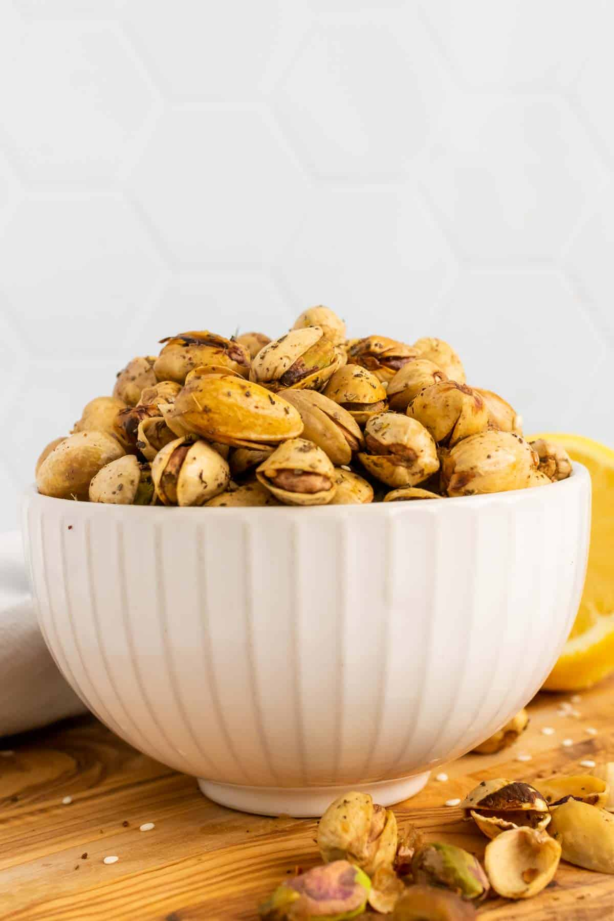 Bowl of nuts seen from the side
