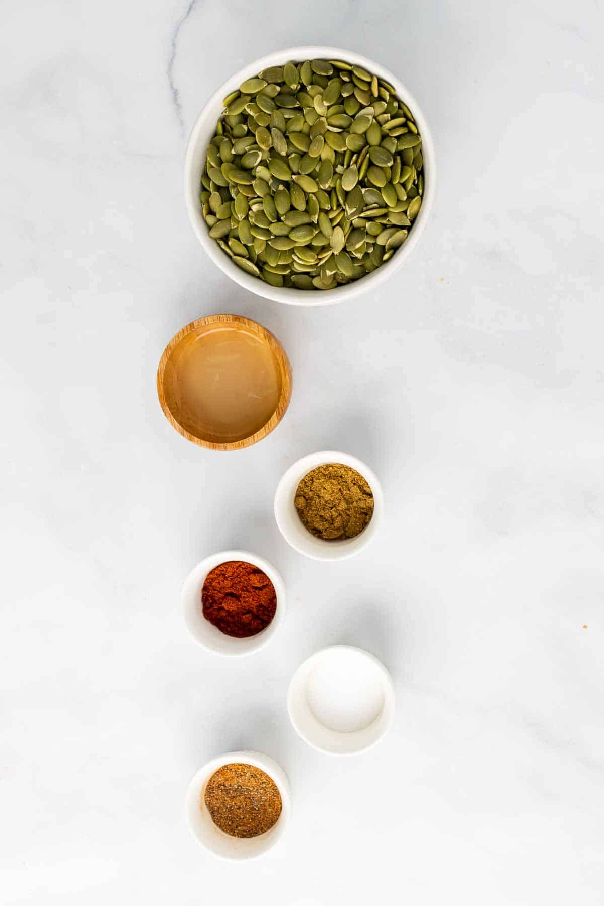 Ingredients in individual ramekins