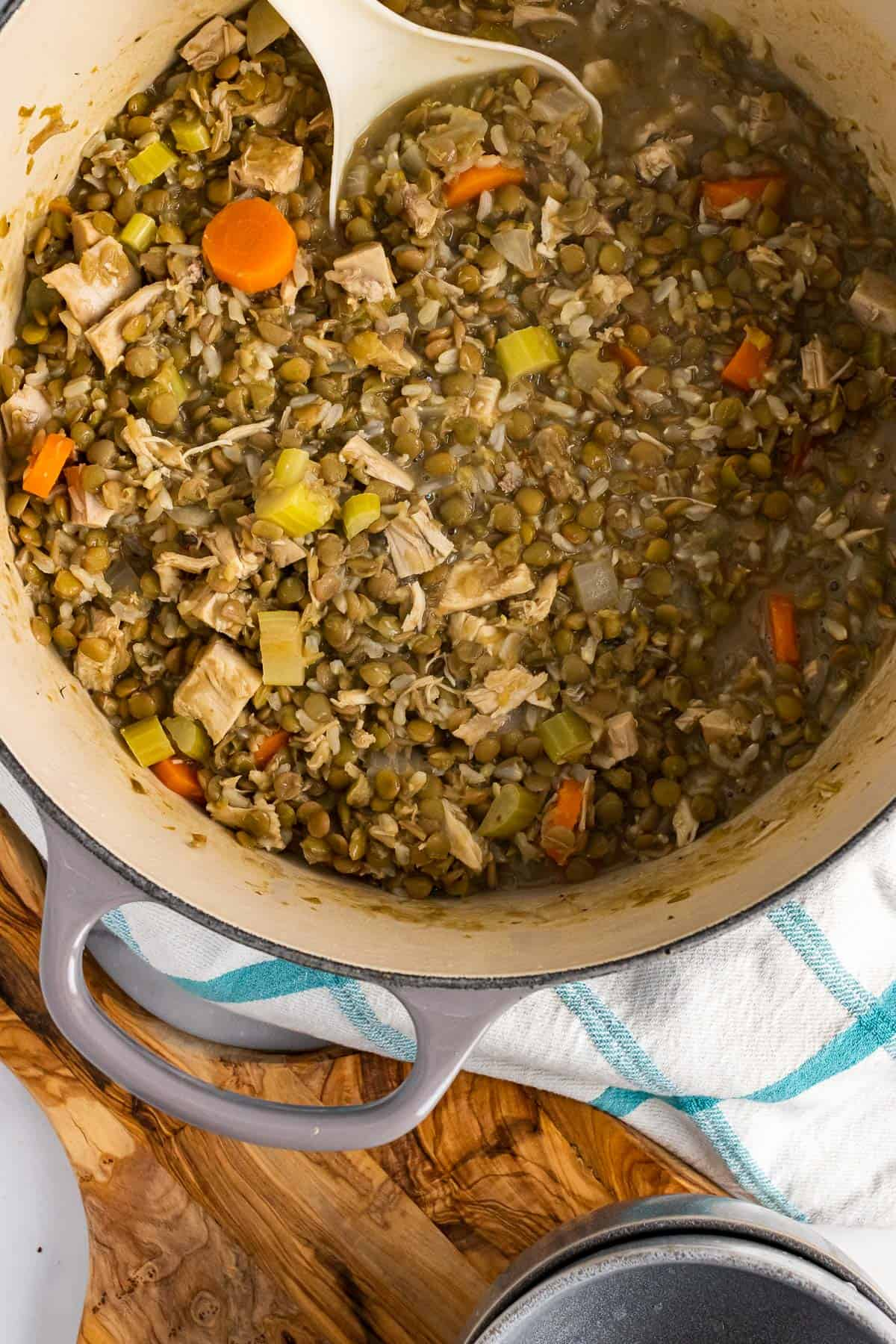 Finished turkey lentil soup in a pot